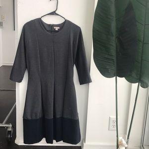 Dark grey A-line dress with navy blue trim.